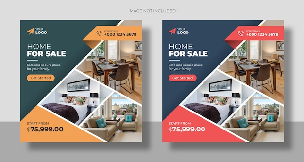Modern home sale real estate social media post banner design template