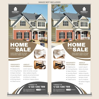 Modern home for sale roll up banner print template in modern design style