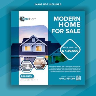 Modern home for sale social media post template or square web banner