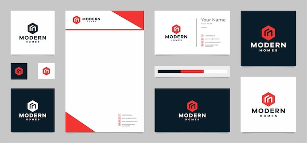 Modern homes logo with business card and letterhead
