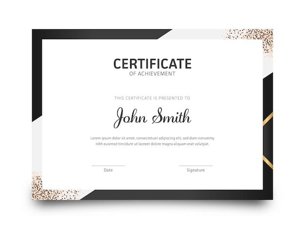 Modern horizontal certificate of achievement template in black and white color.