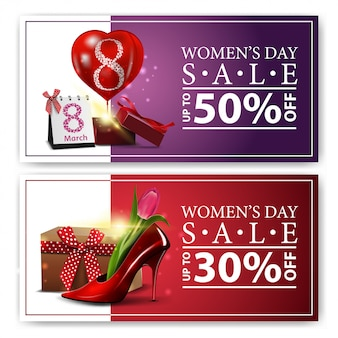 Modern horizontal discount banners to the women's day inside