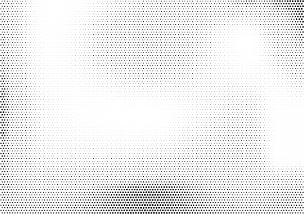 Modern horizontal halftone monochrome background with unevenly distributed dots of different size.