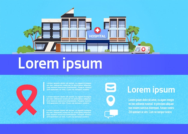 현대 병원 건물 외부 의료 클리닉 개념 infographic 에이즈 로고
