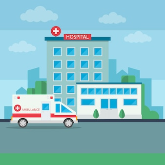 救急車を備えた近代的な病院の建物