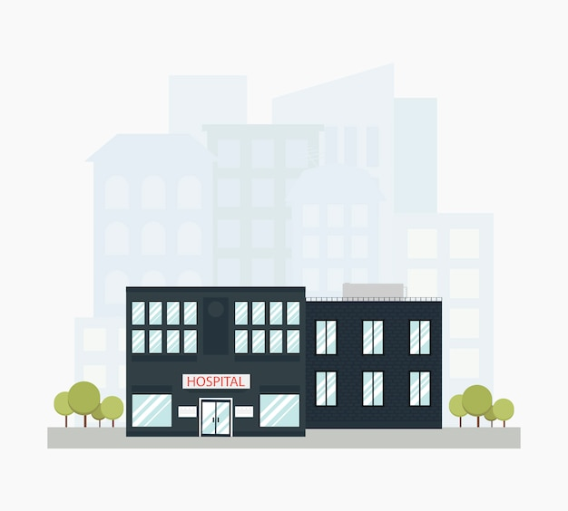 Modern hospital city building with city skyline in flat style.
