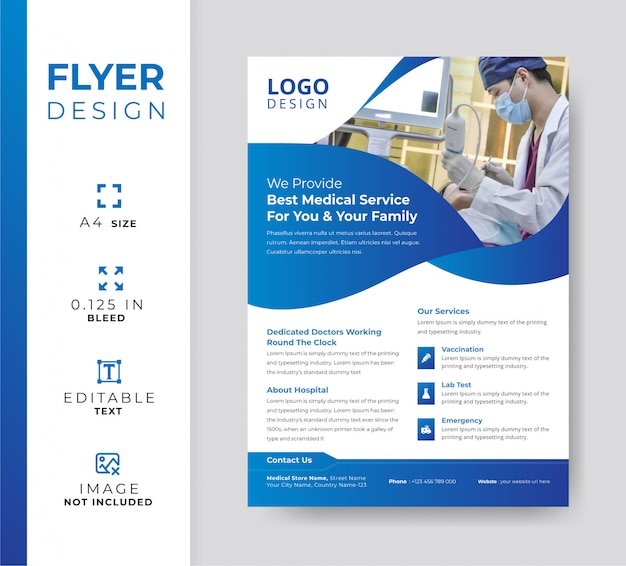 Modern hospital flyer, medical promotional template