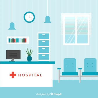 Modern hospital reception composition
