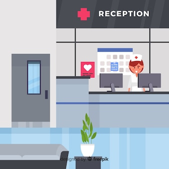 Modern hospital reception with flat design