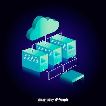 Modern hosting concept with flat design