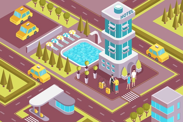 Modern hotel building exterior isometric composition
