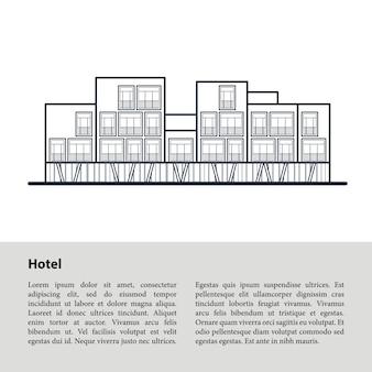 Современный отель. темно синий контур, рисунок на белом. шаблон copyspace внизу на сером.