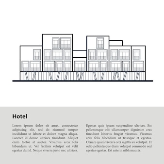 Modern hotel. dark blue outline drawing on white . template copyspace at the bottom on a gray .