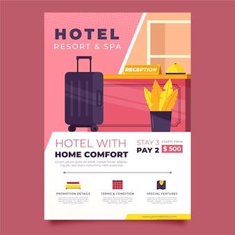 Modello di volantino hotel moderno con illustrazione