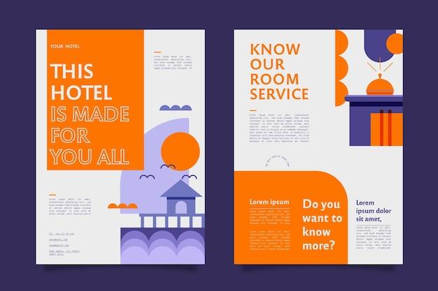 일러스트와 함께 현대 호텔 전단지 서식 파일