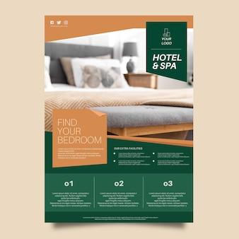 사진과 함께 현대 호텔 전단지 템플릿