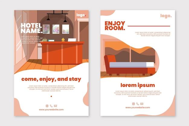 Volantino informativo moderno dell'hotel illustrato