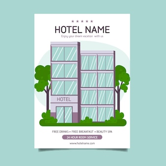 Modern hotel information flyer illustrated