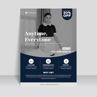 Modern hotel information flyer template with photo