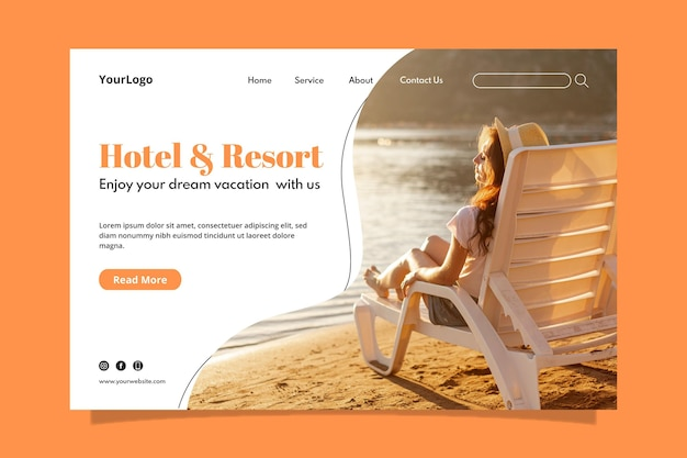 사진이있는 현대적인 호텔 방문 페이지 템플릿
