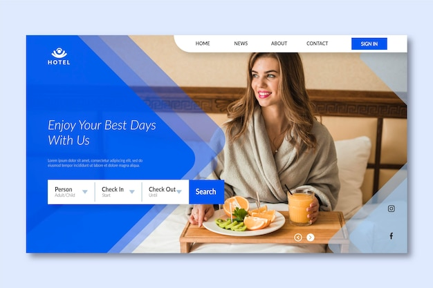 Modern hotel landing page template with photo