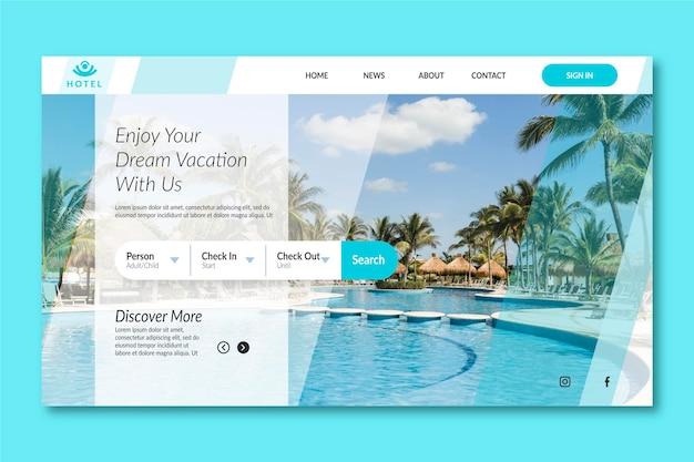 Modello di pagina di destinazione dell'hotel moderno con foto