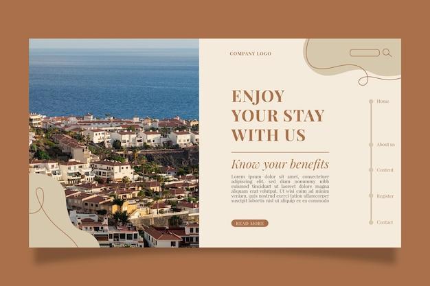 写真付きのモダンなホテルのランディングページテンプレート