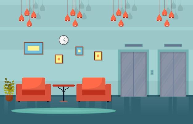 Modern hotel lobby room furniture decoration interior illustration
