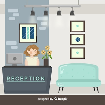 Modern hotel reception composition