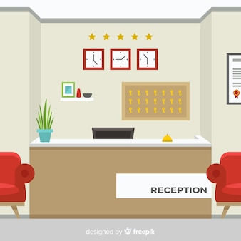 Modern hotel reception with flat design