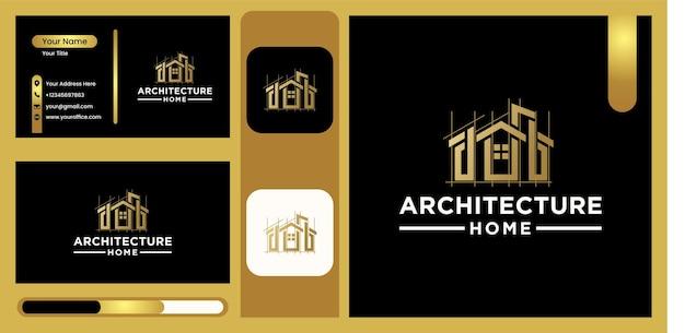 モダンな家の建築のロゴ、豪華でトレンディなゴールドカラーのモダンなラインアートデザインの建物のロゴ