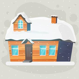 モダンな家、コテージ、コテージ、影のあるタウンハウス。外の2階建てのコテージの建築ビジュアライゼーション。デザインの要素。