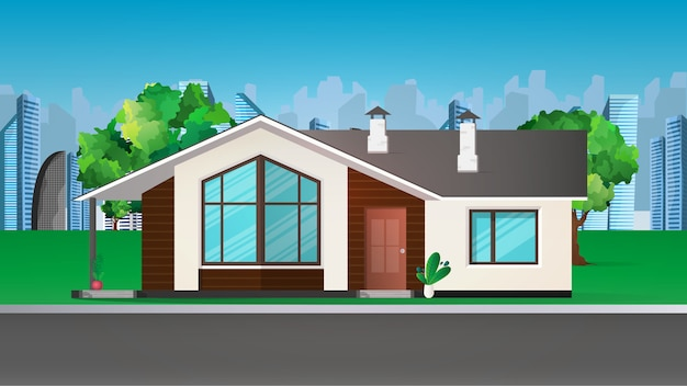 Modern house, cottage, cottage, town house with shadows on the background of the city. architectural visualization of the cottage outside. realistic illustration.