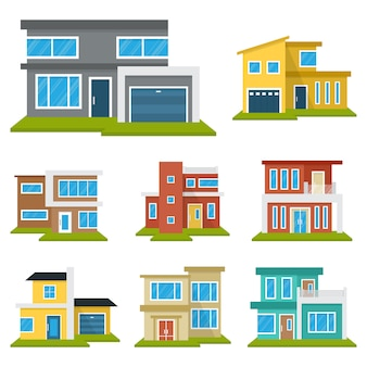 Modern house home real estate set
