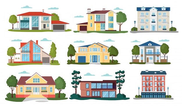 Modern house illustrations, cartoon flat home apartment, facade exterior of residential building set icons isolated on white