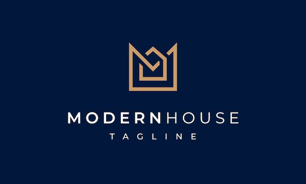Modern house letter m logo for real estate