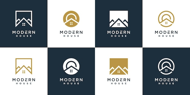 Modern house logo collection unique shape concept premium vector