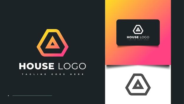 Дизайн логотипа в современном доме с буквой a для идентификации бизнеса в сфере недвижимости