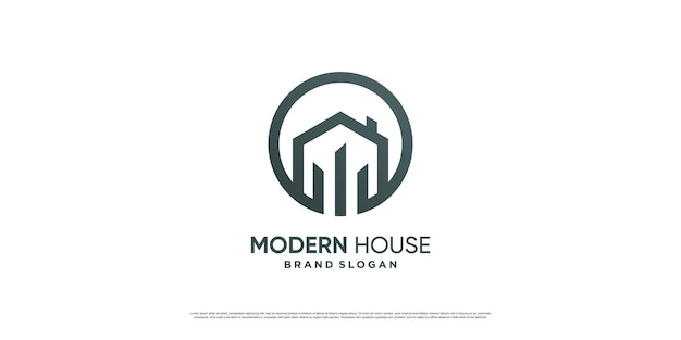 Modern house logo with simple and minimalist concept premium vector