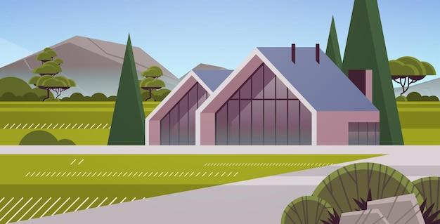 대형 파노라마 창문이 있는 샌드위치 패널의 현대적인 집 현대적인 환경 친화적인 주택 건물 모듈식 주택 개념 수평 벡터 일러스트