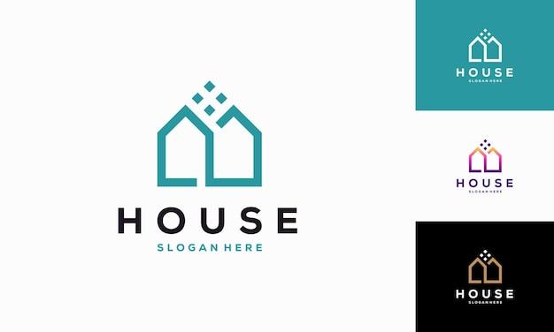 현대 집 개요 로고 디자인 개념 벡터, 간단한 부동산 로고 기호