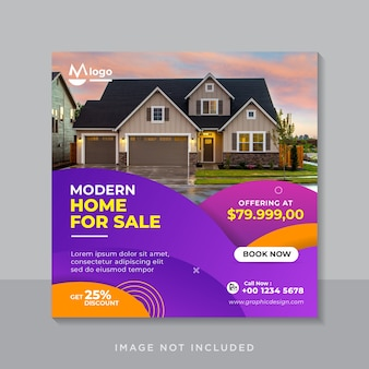 Современный дом продажа недвижимости шаблон баннера в социальных сетях