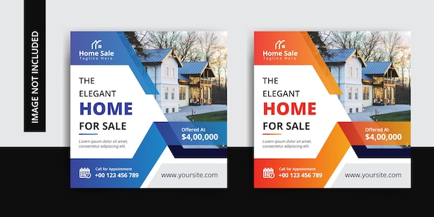 Modern house real estate social insta post template set