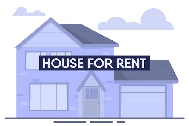 Modern house for rent flat cartoon advertisement