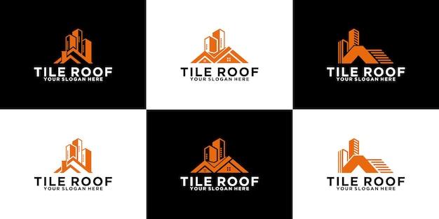 현대 집 지붕 평면 로고 디자인 영감