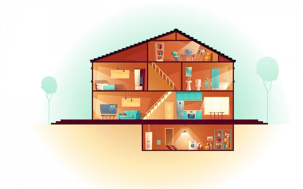 Современный дом, трехэтажный коттедж, сечение интерьеров мультфильма с прачечной в подвале