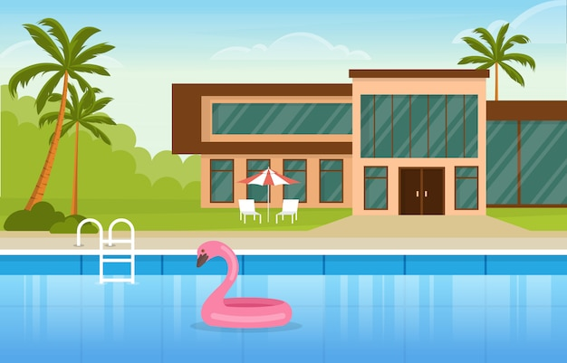 Modern house villa exterior with swimming pool at backyard illustration