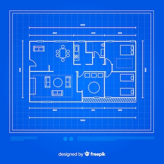 Modern house with blueprint sketch