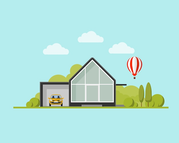 Modern house with garden and balloon