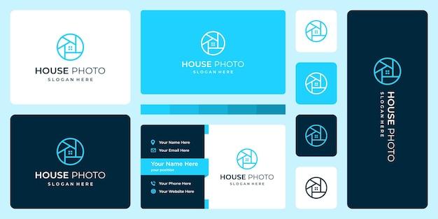 Современный дом с линейной моделью и объективом камеры. визитная карточка.